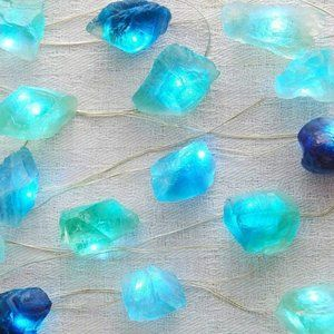⬇️ Sea Glass Raw Stone Deco String Fairy Lights